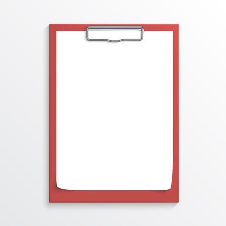 白で隔離される空白の紙のシートを使用して現実的な赤いクリップボード