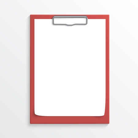 Realistic red clipboard with blank paper sheet isolated on white