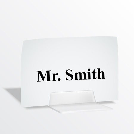 Acrylic card holder for events. Isolated transparent object with white background. Vector