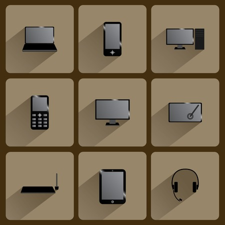 Modern digital devices. Icons set with shadow Illustration