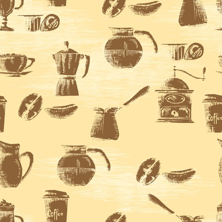 Hand drawn seamless coffee background Vector