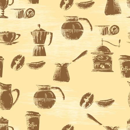 Hand drawn seamless coffee background Illustration