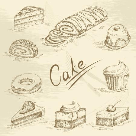 Hand drawn cake sketch Vector