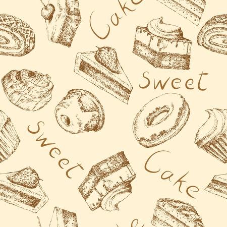 Seamless cake background Illustration