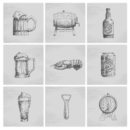 grunge bottle: Sketch beer icons Illustration