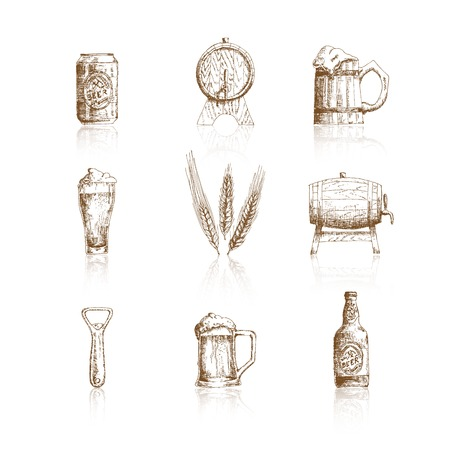 pint of beer: Sketch beer icons Illustration