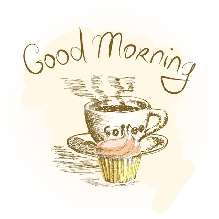 Cup of coffee and cake Illustration