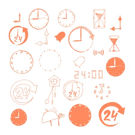 Vector set of sketch time icons Vector