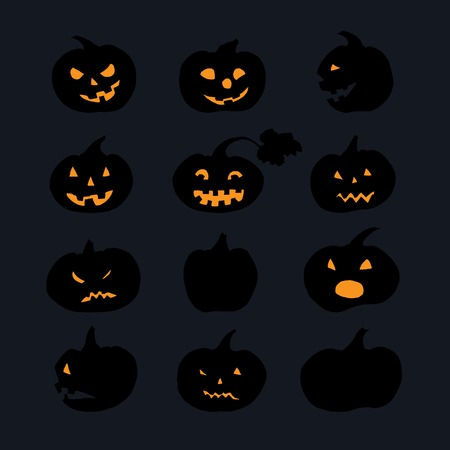 wicked set: Pumpkin icons with scary faces