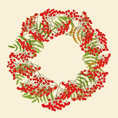 rowan: Red rowan wreath Illustration