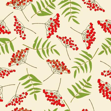 Red rowan berry seamless pattern Vector