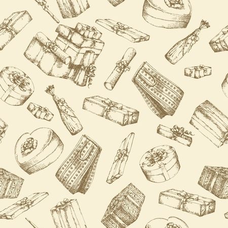 Hand drawn pattern with gift boxes
