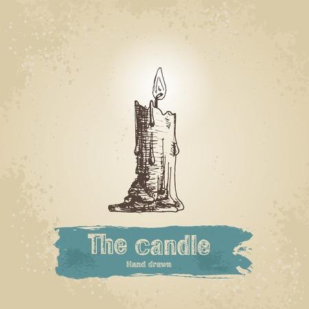 paraffin: Vintage hand drawn candle illustration