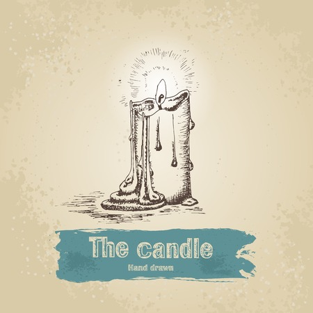 Vintage hand drawn candle illustration