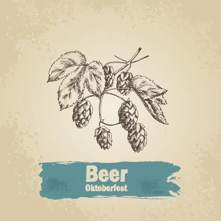bier: Oktoberfest vintage background with humulus. Hand drawn illustration