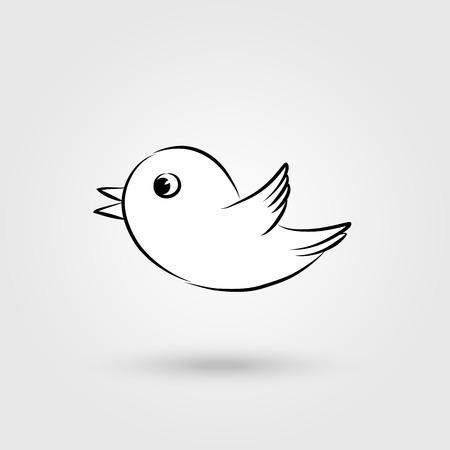 tweeting: Elegant flying and tweeting bird icon with shadow. Illustration