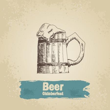 bier festival: Oktoberfest vintage background with beer.