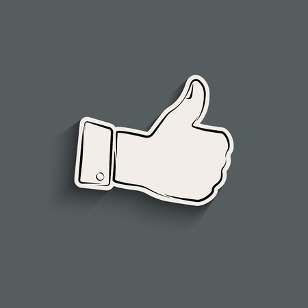 Elegant thumb up icon with shadow Vector