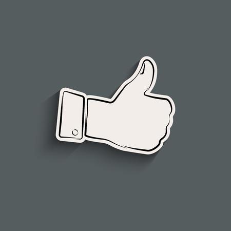 Elegant thumb up icon with shadow Illustration