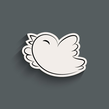 twitter: Bird icon with shadow