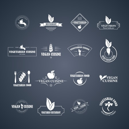 Set of vector icons and elements for organic food Illustration