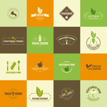Set of vegan and vegetarian icons