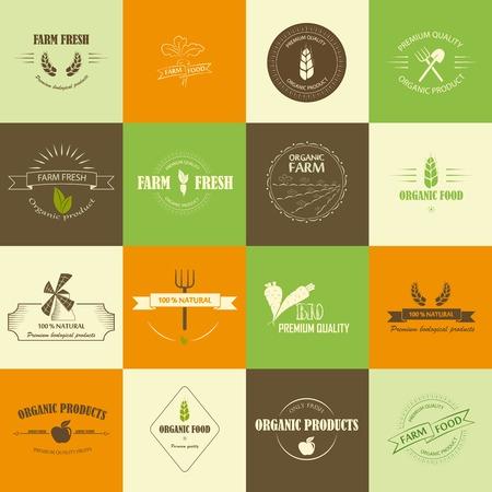Organic food labels Illustration