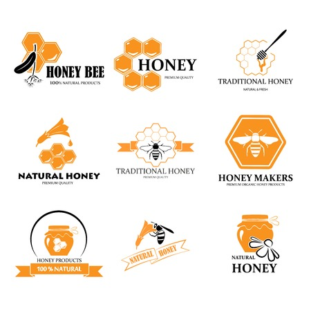 Set of honey labels Stock Illustratie
