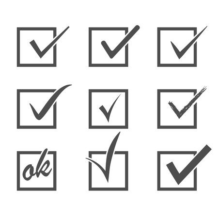 Set of  vector check marks Illustration