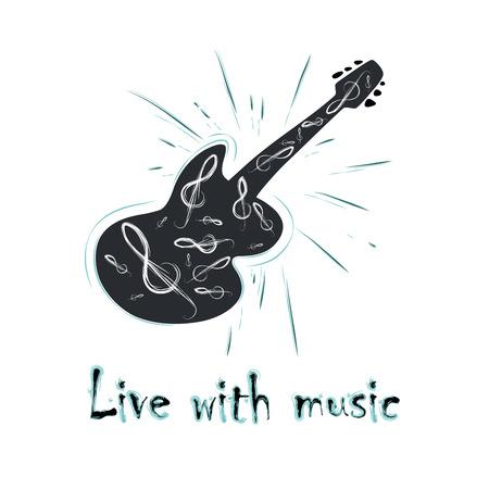 Illustration of grunge label with guitar Illustration