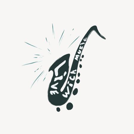 Illustration of grunge label with saxophone Illustration