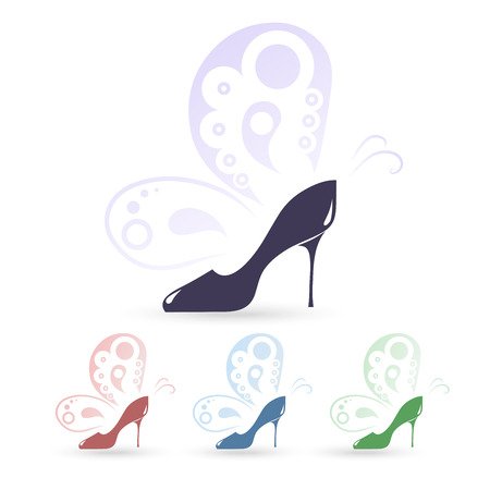 high heeled: High heeled shoes icons Illustration