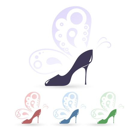 high heeled: High heeled shoes icons Illustration
