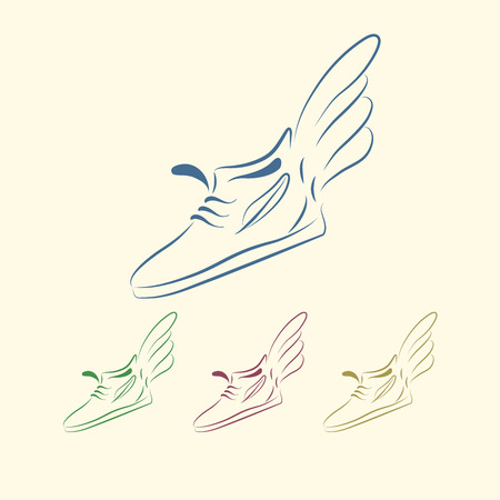 running shoe: Speeding running shoe icons