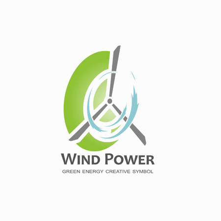 eco power: Wind power logo design template.