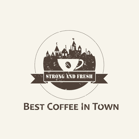 Coffee cup with town background label. Coffee shop logo