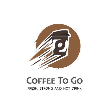 Stylized coffee cup label. Moving coffee cup logo.