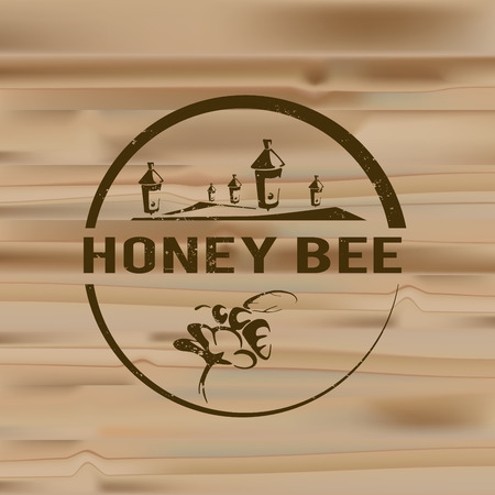 Honey badges logos and labels for any use, on wooden background texture