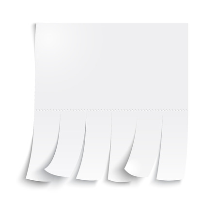 slips: Blank advertisement with cut slips on a white background.