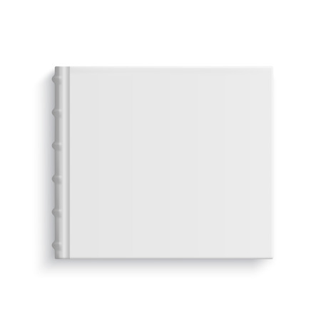 hardcover: Blank square old stylized hardcover album template on white background