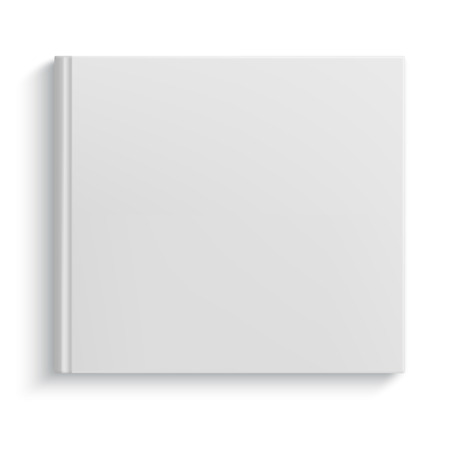 closed: Blank square hardcover album template on white background