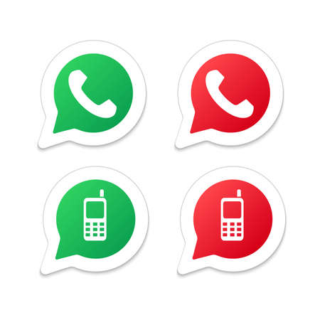 friend nobody: Set of speech bubble icons with phone. White background, shadows Illustration