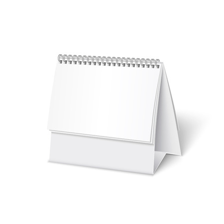 assign: Blank paper desk spiral calendar with soft shadows.