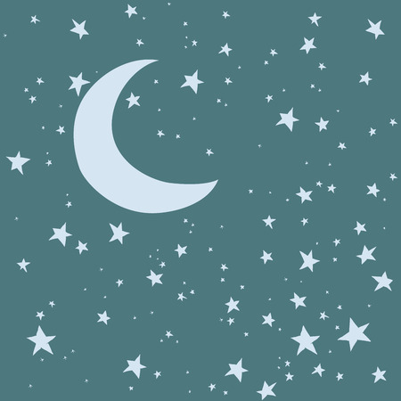 Night sky. Moon and stars vector background