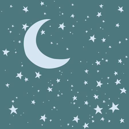 Nachtelijke hemel. Maan en sterren vector achtergrond