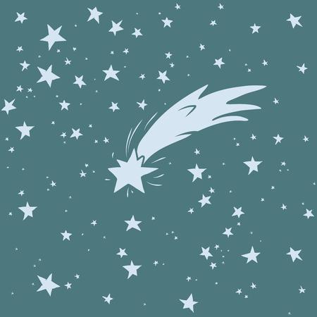 lucero: cielo nocturno dibujado a mano con la estrella fugaz
