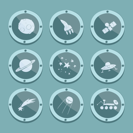 Cartoon doodle space icons in porthole