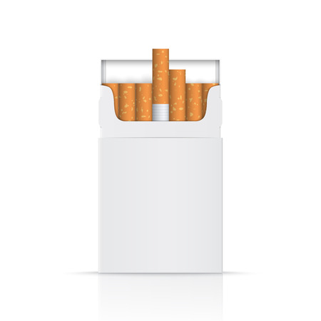 baccy: Realistic blank of opened pack of cigarettes isolated on a white background. Perfect for advertising cigarettes