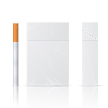 cigarette pack: Realistic blanks of cigarette pack and cigarette. Isolated on white background. Perfect for advertising cigarettes