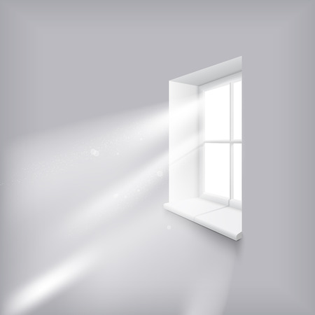 Sun rays shining trough window Stock Illustratie
